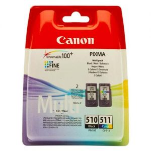 Canon PG-510/CL-511 Inkjet Cartridge Page Life 220 Black 224 Colour Ref 2970B010 [Pack 2]   114888