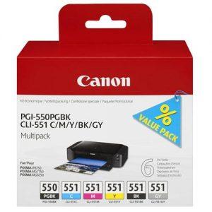 Canon PGI-550/CLI-551 Inkjet Cartridges Multipack C/M/Y/K/GY Ref 6496B005 [Pack 6] | 132783