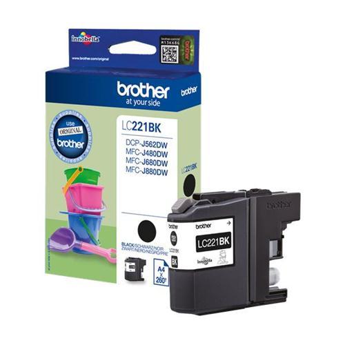 Brother LC221BK Inkjet Cartridge Black Ref LC221BK | 132905