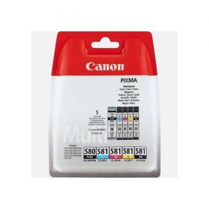 Canon PGI-580/CLI-581 Inkjet Cartridge Page Life 950pp Black 741pp Colour Ref 2078C005 [Pack 5] | 158451