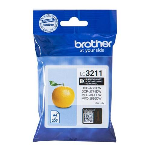 Brother LC3211BK Inkjet Cartridge Page Life 200pp Black Ref LC3211BK | 158526