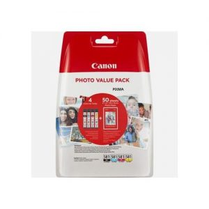 Canon CLI-581 Inkjet Cartridges 259pp and Photo Paper 750pp Value Pack B/C/M/Y Ref 2106C005 [Pack 5] | 159565