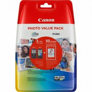 Canon 540XL/541XL Inkjet Cartridge 600pp Black/CMY 50 Sheets 4x6 Photo Paper Ref 5222B013 [Pack 2] | 160660
