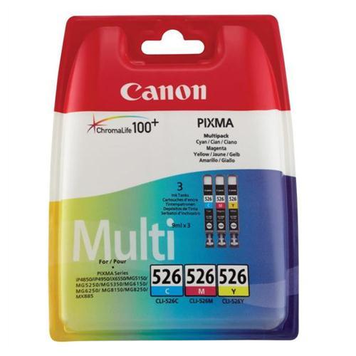 Canon CLI-526 Inkjet Cartridge Page Life 1349pp Cyan/Magenta/Yellow Ref 4541B006 [Pack 3] | 223925