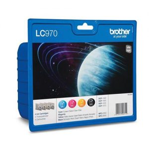 Brother Inkjet Cartridge Value Pack Page Life 1250pp Black/Cyan/Magenta/Yellow Ref LC970VALBP [Pack 4] | 233395