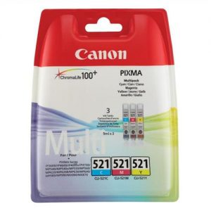 Canon CLI-521 Inkjet Cartridges Cyan/Magenta/Yellow Ref 2934B007 [Pack 3] | 877860