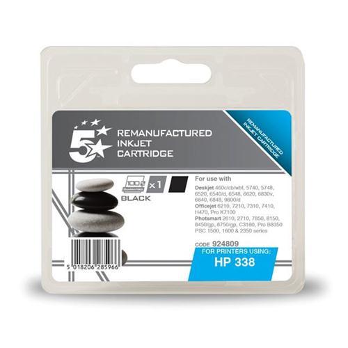 5 Star Office Remanufactured Inkjet Cartridge Page Life 450pp Black [HP No. 338 C8765EE Alternative]   924809