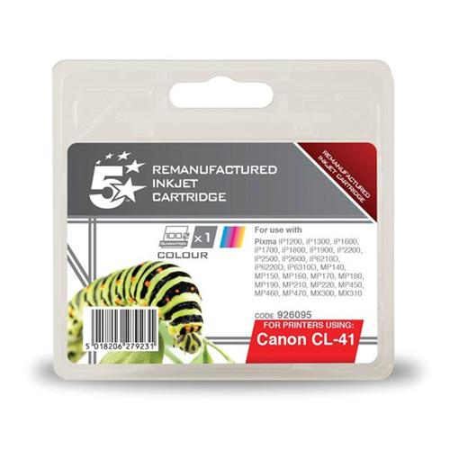 5 Star Office Remanufactured Inkjet Cartridge Page Life 308pp Colour [Canon CL-41 Alternative] | 926095