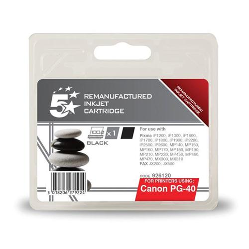 5 Star Office Remanufactured Fax Inkjet Cartridge Page Life 490pp Black [Canon PG-40 Alternative] | 926120