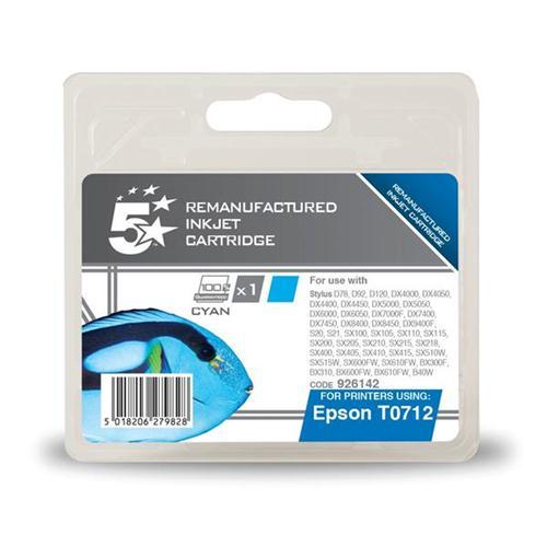 5 Star Office Remanufactured Inkjet Cartridge Cyan [Epson T071240 Alternative] | 926142