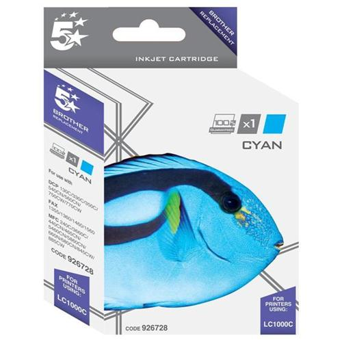 5 Star Office Remanufactured Inkjet Cartridge Page Life 400pp Cyan [Brother LC1000C Alternative]   926728