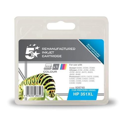 5 Star Office Remanufactured Inkjet Cartridge Page Life 580pp Colour [HP No. 351XL CB338EE Alternative] | 926740