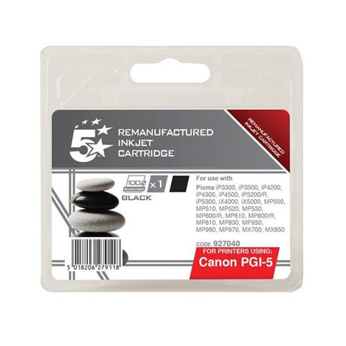 5 Star Office Remanufactured Inkjet Cartridge Page Life 520pp Black [Canon PGI-5BK Alternative] | 927040