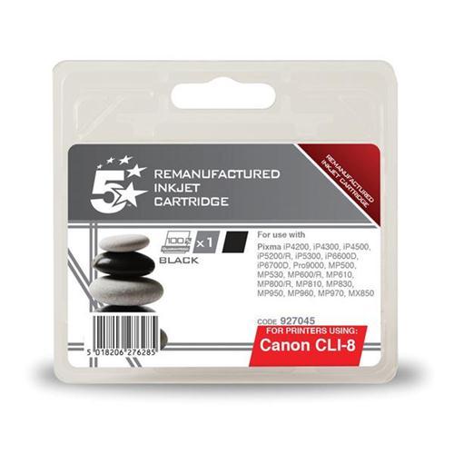 5 Star Office Remanufactured Inkjet Cartridge Page Life 5475pp Black [Canon CLI-8BK Alternative]   927045