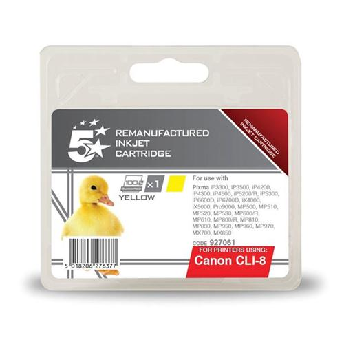 5 Star Office Remanufactured Inkjet Cartridge Page Life 327pp Yellow [Canon CLI-8Y Alternative] | 927061