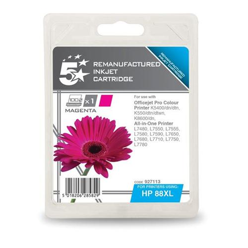 5 Star Office Remanufactured Inkjet Cartridge Page Life 1200pp Magenta [HP No. 88XL C9392A Alternative] | 927113