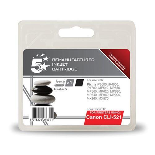 5 Star Office Remanufactured Inkjet Cartridge Page Life 425pp Black [Canon CLI-521BK Alternative]   929016