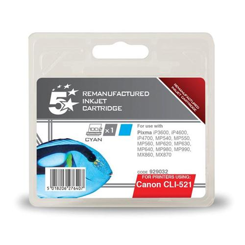 5 Star Office Remanufactured Inkjet Cartridge Page Life 470pp Cyan [Canon CLI-521C Alternative]   929032