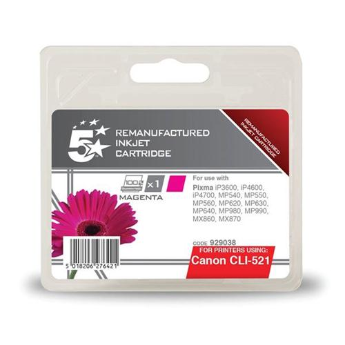 5 Star Office Remanufactured Inkjet Cartridge Page Life 470pp Magenta [Canon CLI-521M Alternative] | 929038