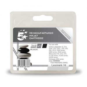 5 Star Office Remanufactured Inkjet Cartridge Page Life 410pp Black [Lexmark 16 10N0016E Alternative] | 930083