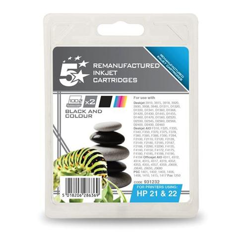 5 Star Office Remanufactured Inkjet Cartridge 250pp Black/Colour [HP No. 21 22 SD367AE] [Pack 2] | 931232