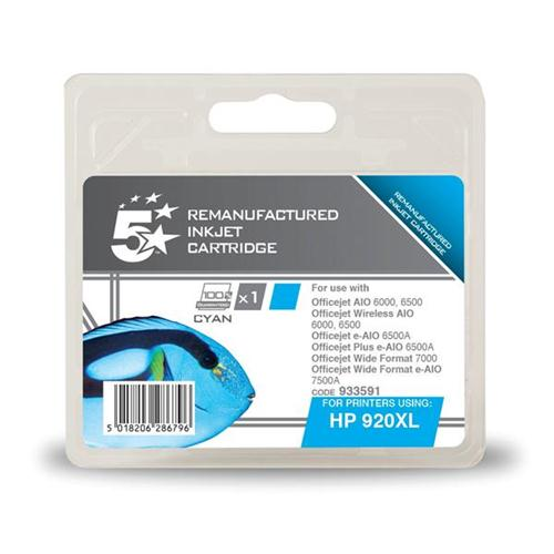 5 Star Office Remanufactured Inkjet Cartridge Page Life 700pp Cyan [HP No. 920XL CD972AE Alternative] | 933591