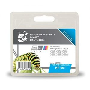 5 Star Office Remanufactured Inkjet Cartridge Page Life 360pp Colour [HP No. 901 CC656AE Alternative] | 933635