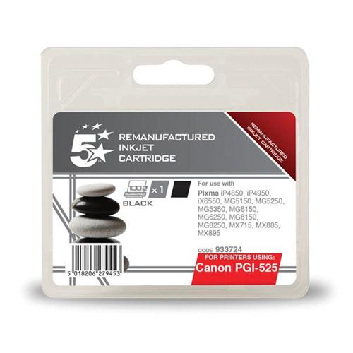 5 Star Office Remanufactured Inkjet Cartridge Page Life 323pp Black [Canon PGI-525BK Alternative] | 933724