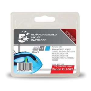 5 Star Office Remanufactured Inkjet Cartridge Page Life 570pp Cyan [Canon CLI-526C Alternative] | 933761