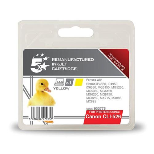 5 Star Office Remanufactured Inkjet Cartridge Page Life 545pp Yellow [Canon CLI-526Y Alternative] | 933775