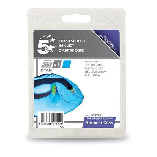 5 Star Office Remanufactured Inkjet Cartridge Page Life 260pp Cyan [Brother LC985C Alternative] | 933787
