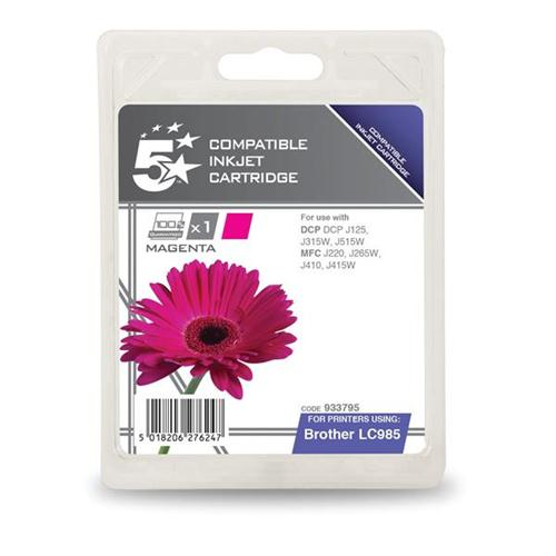 5 Star Office Remanufactured Inkjet Cartridge Page Life 260pp Magenta [Brother LC985M Alternative] | 933795