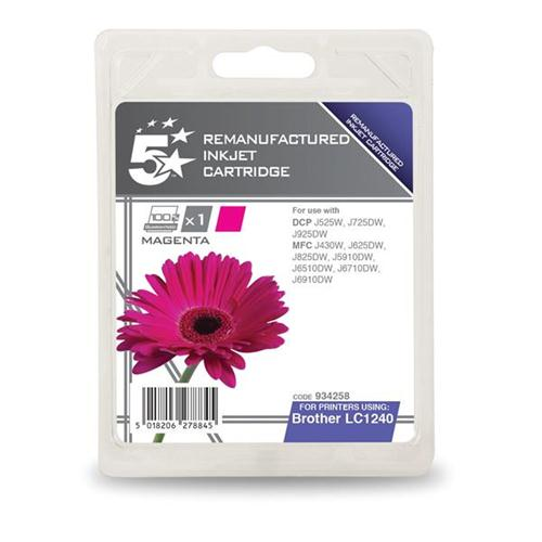 5 Star Office Remanufactured Inkjet Cartridge Page Life 600pp Magenta [Brother LC1240M Alternative] | 934258