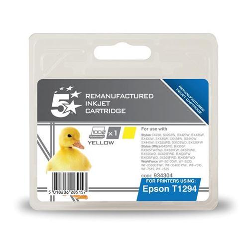 5 Star Office Remanufactured Inkjet Cartridge Capacity 7ml Yellow [Epson T12944011 Alternative] | 934304