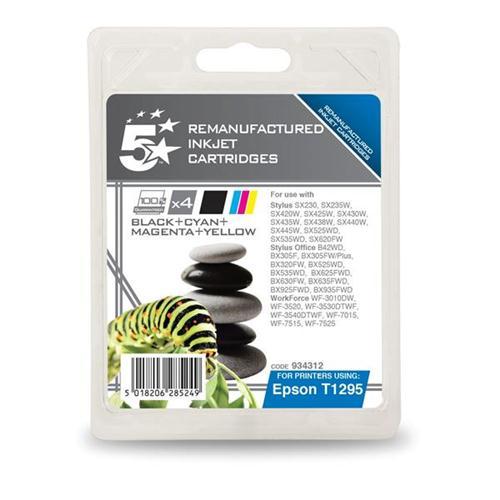 5 Star Office Remanufactured Inkjet Cartridges C/M/Y/K [Epson T12954010 Alternative] [Pack 4] | 934312