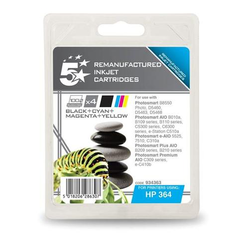 5 Star Office Remanufactured Inkjet Cartridge 4 Colour [HP No. 364 SD534EE Alternative] [Pack 4]   934363