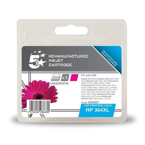 5 Star Office Remanufactured Inkjet Cartridge Page Life 750pp Magenta [HP No. 364XL CB324EE Alternative]   934401