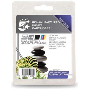 5 Star Office Remanufactured Inkjet Cartridges 600pp 4-Colour [Brother LC1240VALBP Alt] [Pack 4]   935547