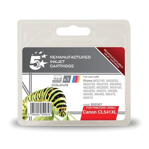 5 Star Office Remanufactured Inkjet Cartridge Page Life 400pp Tri-Colour [Canon CL-541XL Alternative]   935567