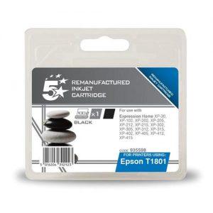 5 Star Office Remanufactured Inkjet Cartridge Capacity 5.2ml Black [Epson C13T18014010 Alternative] | 935598