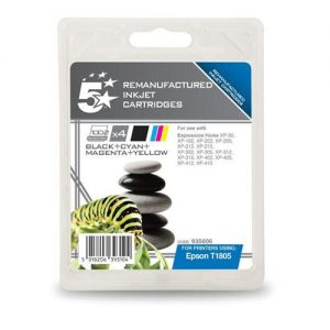 5 Star Office Remanufactured Inkjet Cartridges Capacity 15.1ml [Epson C13T18064010 Alternative] [Pack 4] | 935606