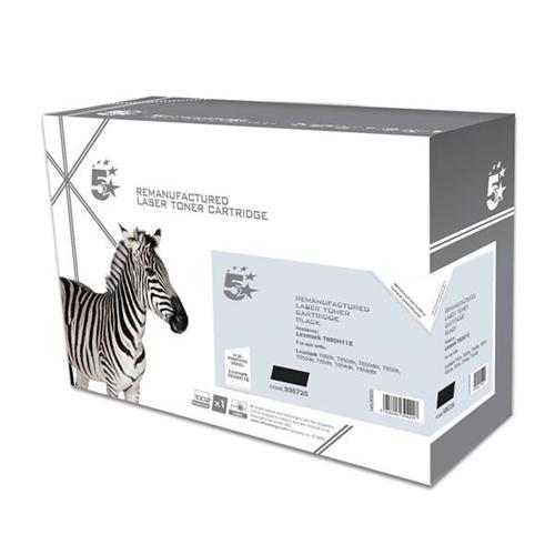 5 Star Office Remanufactured Laser Toner Cartridge Page Life 25000pp Black [Lexmark T650H11E Alternative] | 935725