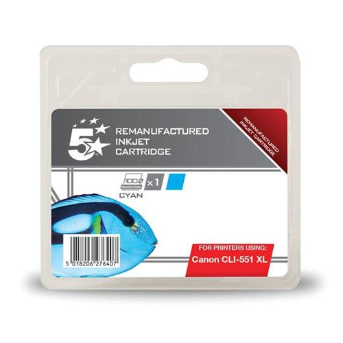5 Star Office Remanufactured Inkjet Cartridge [Canon CLI-551 XL Alternative] Cyan | 938415