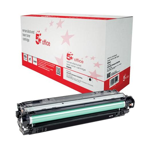 5 Star Office Remanufactured Laser Toner Cartridge Page Life 13500pp Black [HP 650A CE270A Alternative] | 940708