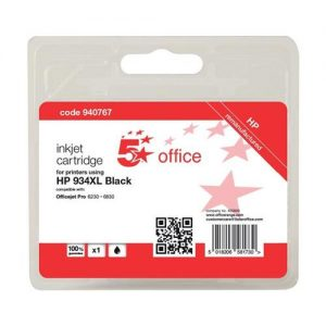 5 Star Office Remanufactured Inkjet Cartridge Page Life 1000pp Black [HP No. 934XL C2P23AE Alternative]   940767
