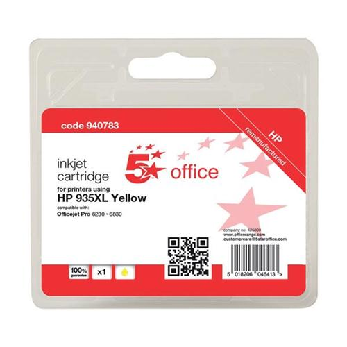 5 Star Office Remanufactured Inkjet Cartridge Page Life 825pp Yellow [HP No. 935XL C2P26AE Alternative] | 940783