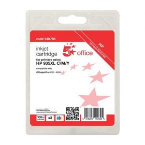 5 Star Office Remanufactured Inkjet Cartridge Page Life 2475pp C/M/Y [HP No. 935XL Alternative] [Pack 3] | 940788