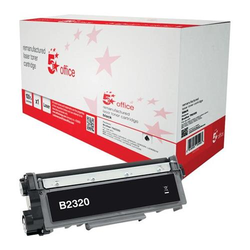 5 Star Office Remanufactured Laser Toner Cartridge Page Life 2600pp Black [Brother TN2320 Alternative] | 942259