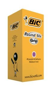 Bic Round Stic Grip Pens Purple 920412