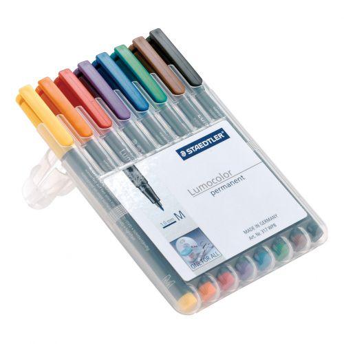 Staedtler 318 Lumocolor Permanent Pen Fine 0.6mm Line Wallet Assorted Colours Ref 318WP8